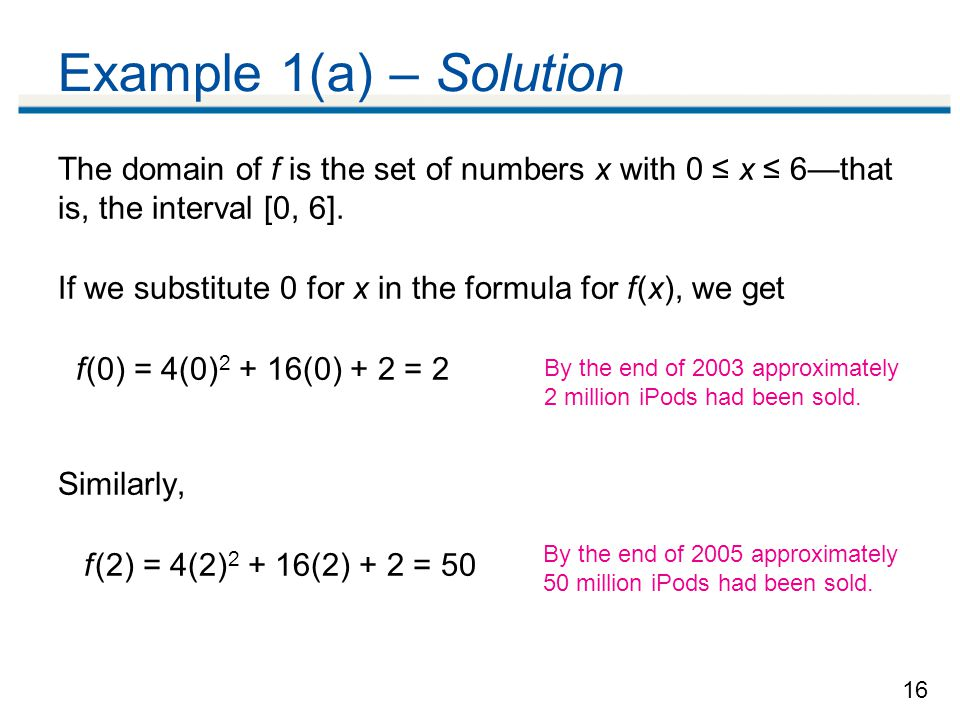 Example 1(a) – Solution The domain of f is the set of numbers x with 0 ≤ x ≤ 6—that is, the interval [0, 6].